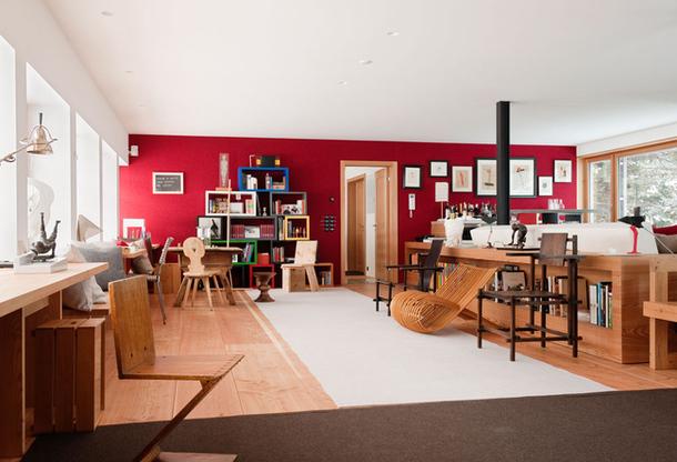 Жилой дом в олимпийском стадионе. Дизайнер Rolf Sachs. Санкт-Мориц. Швейцарские Альпы
