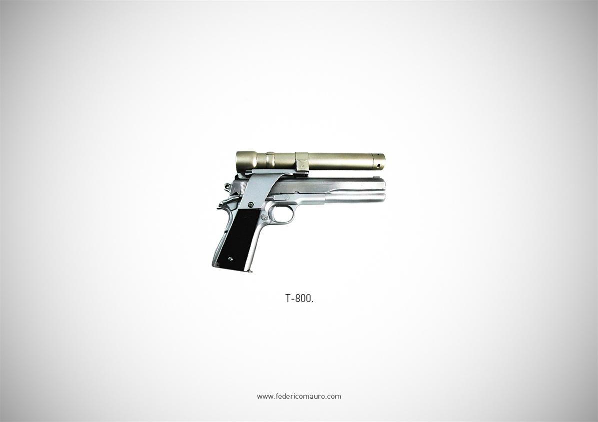 Знаменитые пушки - оружие культовых персонажей / Famous Guns by Federico Mauro - T-800 (The Terminator)