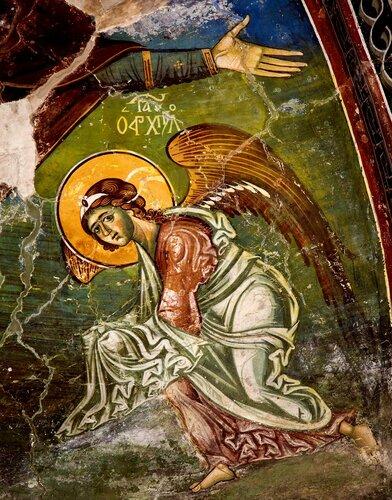 Архангел Гавриил. Фреска церкви Святого Николая в Манастире, Македония. Вторая половина XIII века.