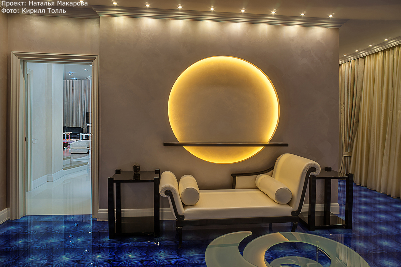 современные идеи дизайна интерьера. дом с подсветкой