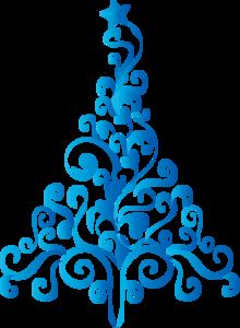 Зимние голубые деревья