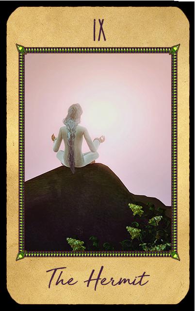 Отшельник. Карта символизирует внутреннее духовное руководство, духовный успех, познание через опыт, самопознание, самоанализ, искания, уединение, отстранённость, умеренность, мудрость, молчание, благоразумие, осмотрительность, предостережение, осторожность, отрешенность. Отшельник в раскладе Таро означает, что гадающему необходимо абстрагироваться от какой-то ситуации или даже удалиться физически, чтобы оценить создавшееся положение. Карта также указывает на необходимость спокойных размышлений в течение некоторого времени, чтобы вдали от повседневной суеты определить истинные нужды и цели. Таким образом, решения долгосрочных и насущных проблем можно найти погружаясь в себя.