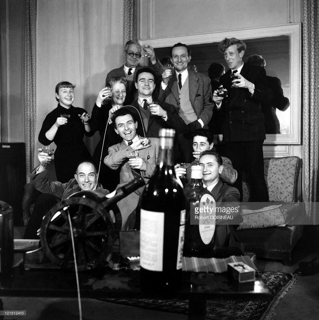 1953. Эмиль Савитри, Реймонд Гроссет, Эдди ван дер Вин, Сабин Вайсс, Эрги Ландау, Робер Дуано, Серж де Сазо в Париже
