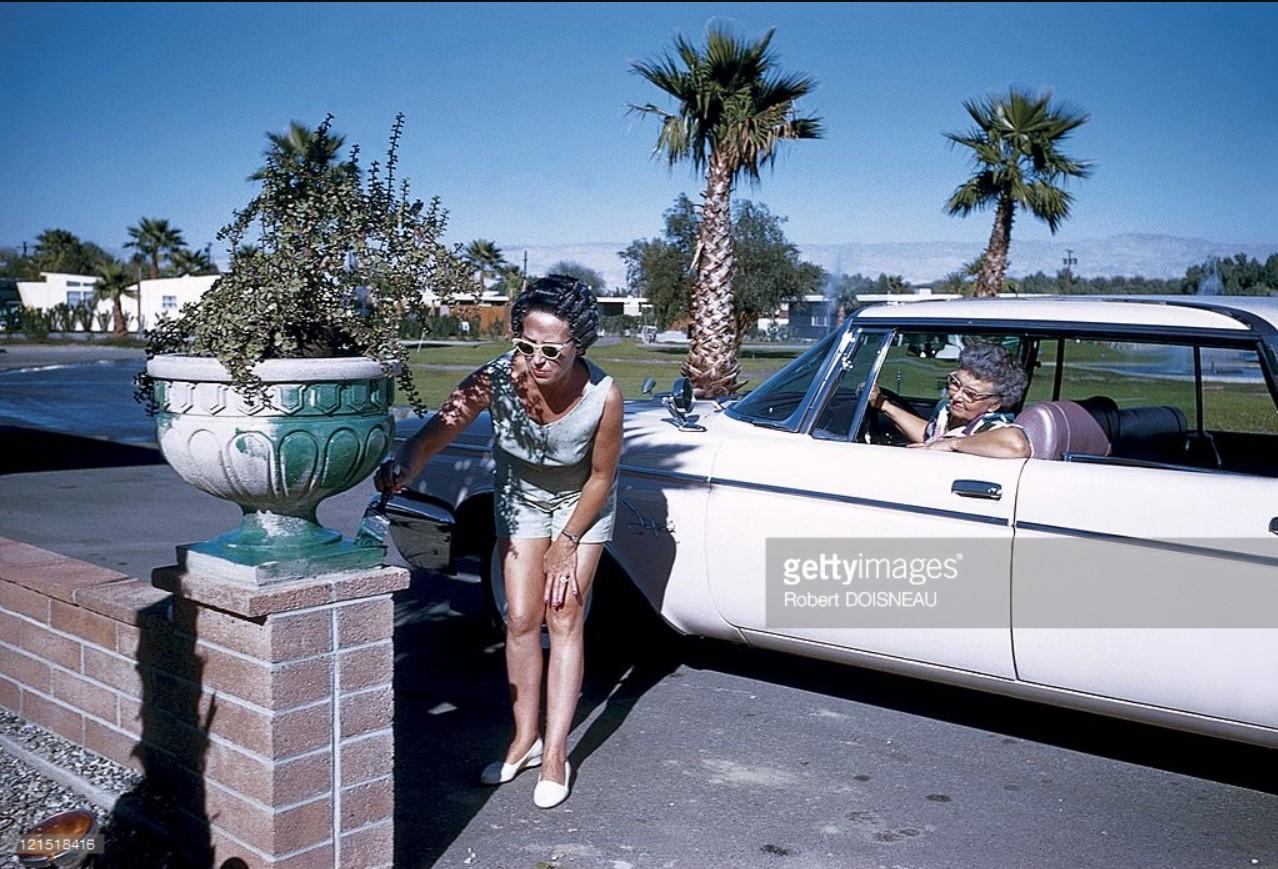 1960. Палм-Спрингс. Женщина красит каменную чашу