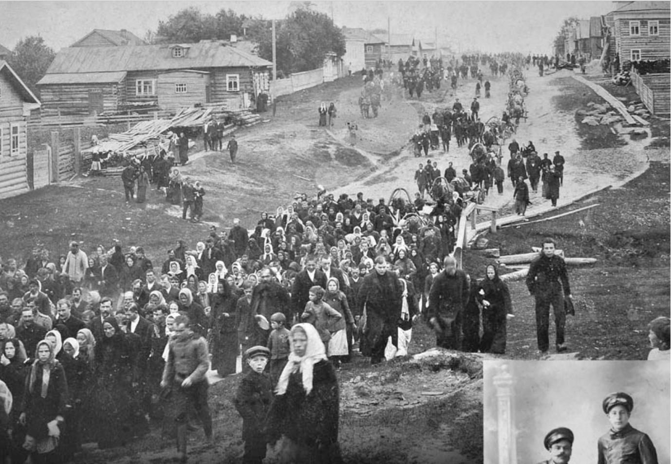 Проводы мобилизованных в Онеге в 1914 году