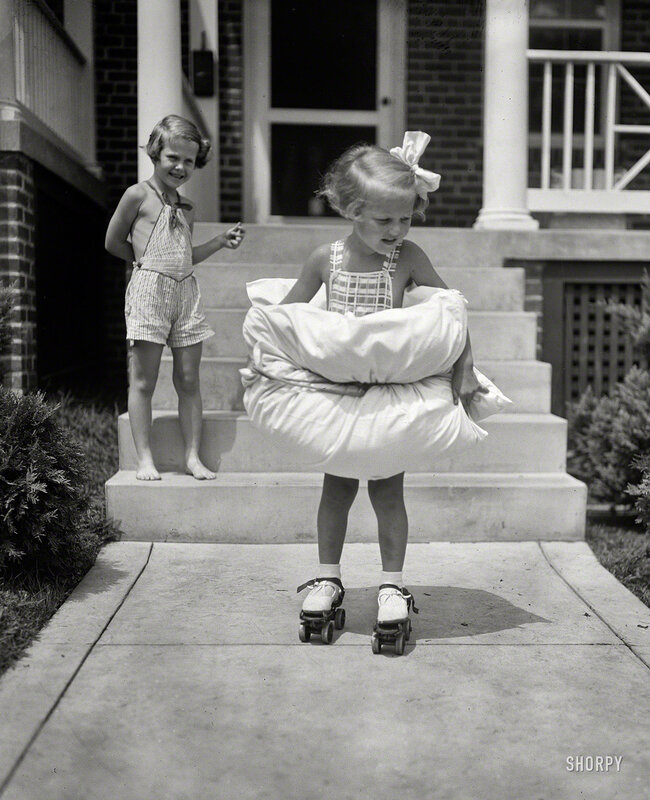 Aug. 8, 1936. Washington, D.C. 'Safety first for this Miss. Equipped with bumpers fore and aft, 4-year-oldas she tries her first pair of roller skates' Betty Buck is taking no unnecessary chances