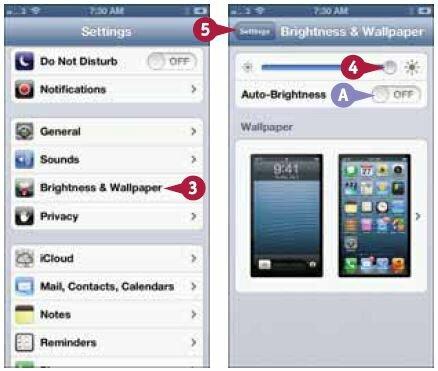 Уменьшение яркости экрана iPhone