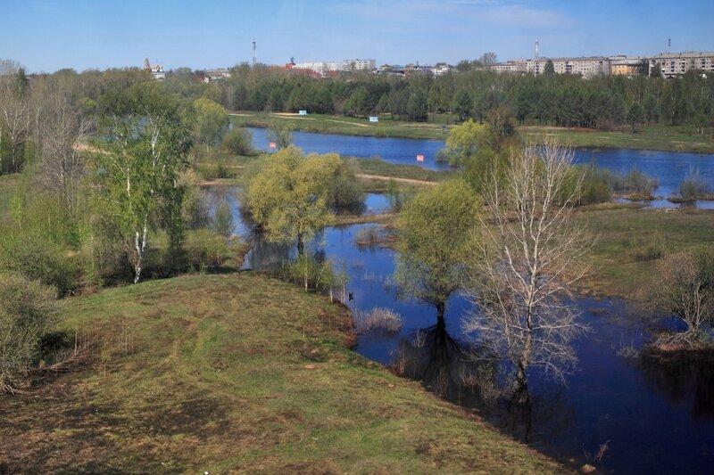 Виды из гондолы нижегородской канатной дороги