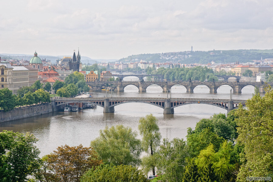 Мосты через Влтаву (Влтава, лето, мост, Прага)
