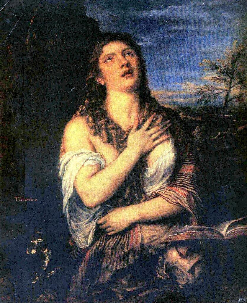 Шедевры Эрмитажа, живопись, Тициан Вечеллио, Кающаяся Мария Магдалина