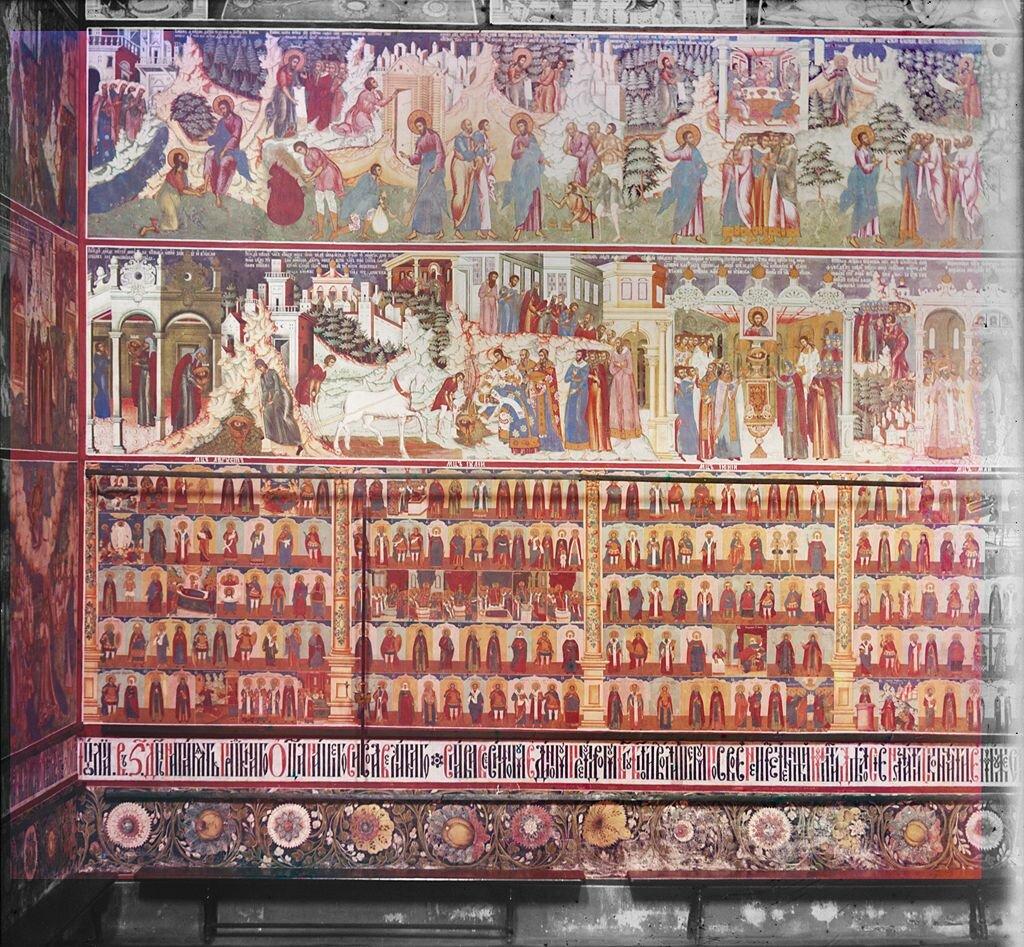 Роспись первых трех ярусов северной стены центрального храма церкви Иоанна Предтечи. 1911 г.