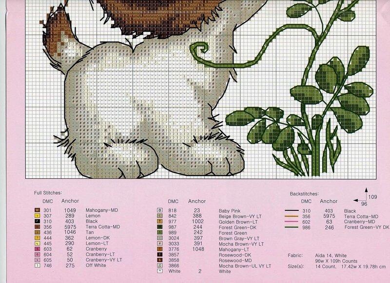 щенок с цветком - схема 2