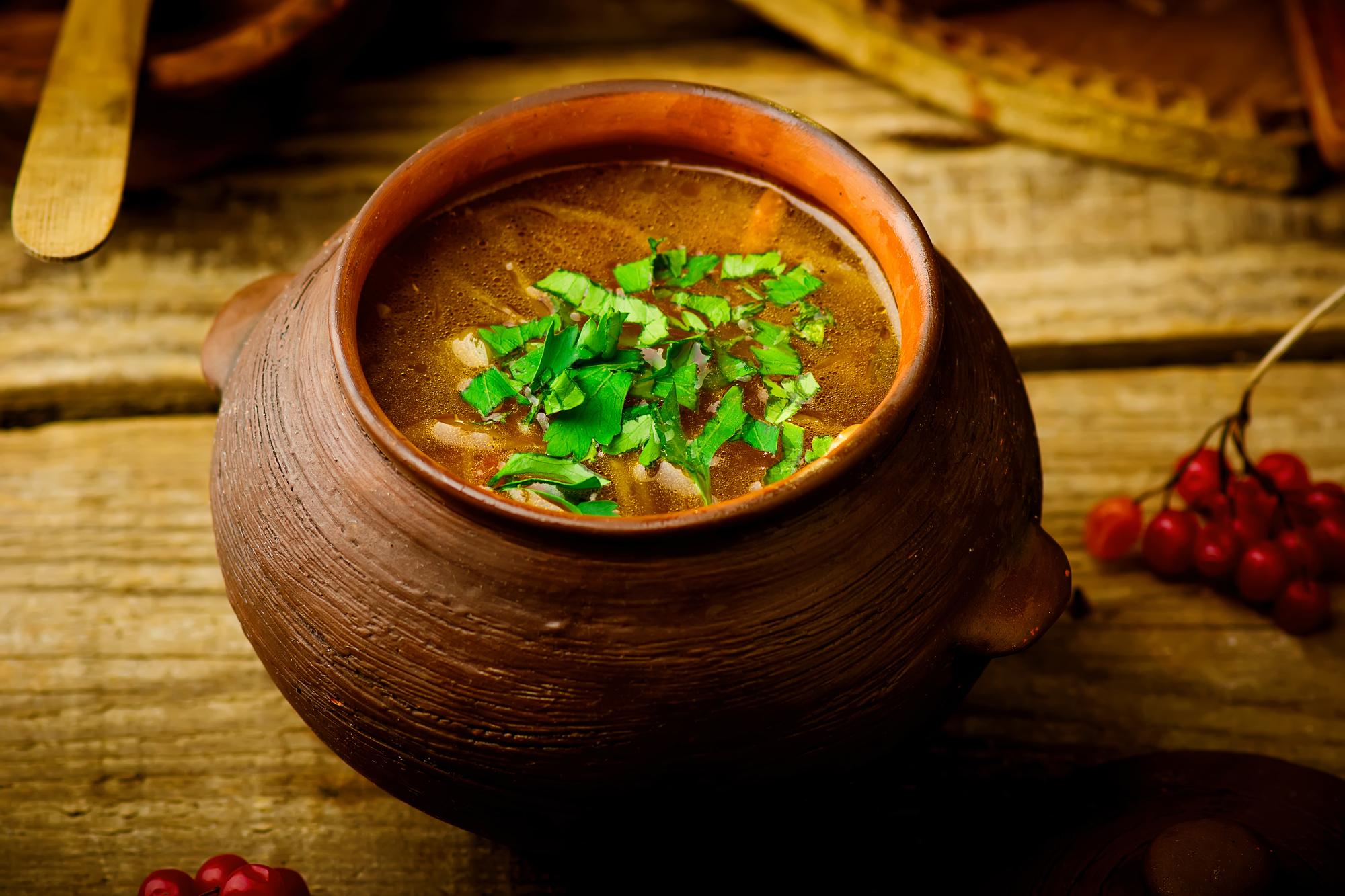 shchi, traditional Russian soup from cabbage. style rustic. Мясоеды в общинах старообрядцев ели