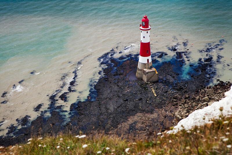 aerial photography of a lighthouse and sea near Beachy Head in England