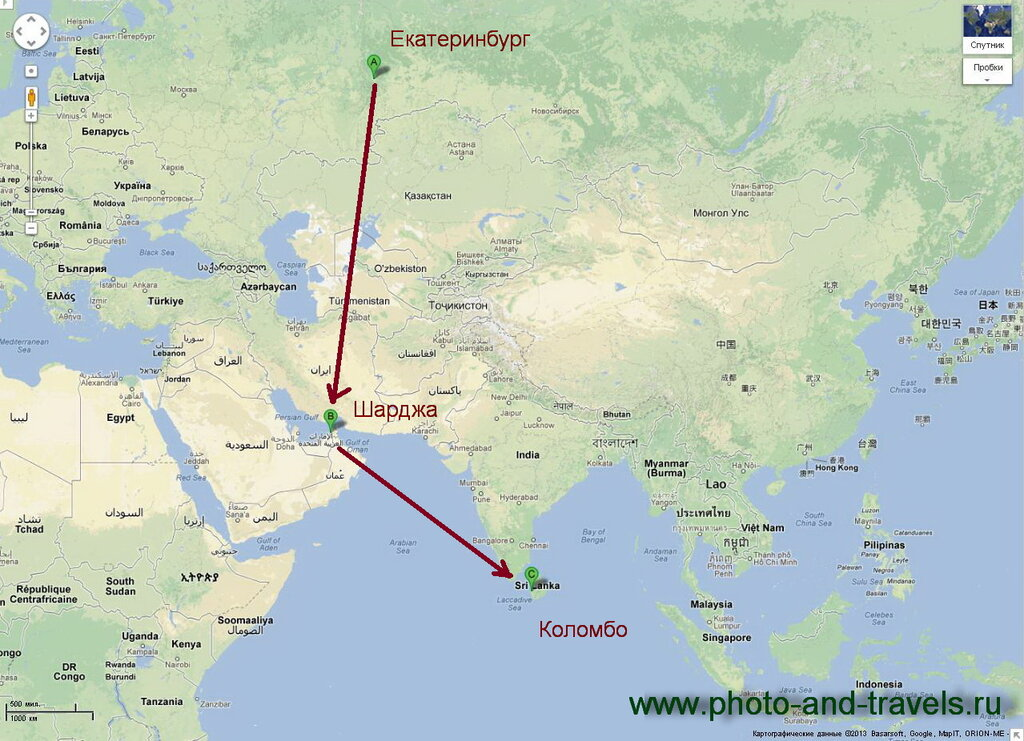 1. Карта перелета компанией Air Arabia из Екатеринбурга в Коломбо - столицу Шри-Ланки. Отсюда начинается наш самостоятельный тур по острову за рулем автомобиля, что мы взяли в аренду.