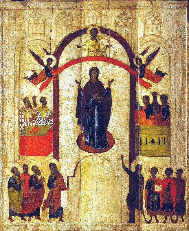 Покров Пресвятой Богородицы. Икона. Новгород, около 1399 года.