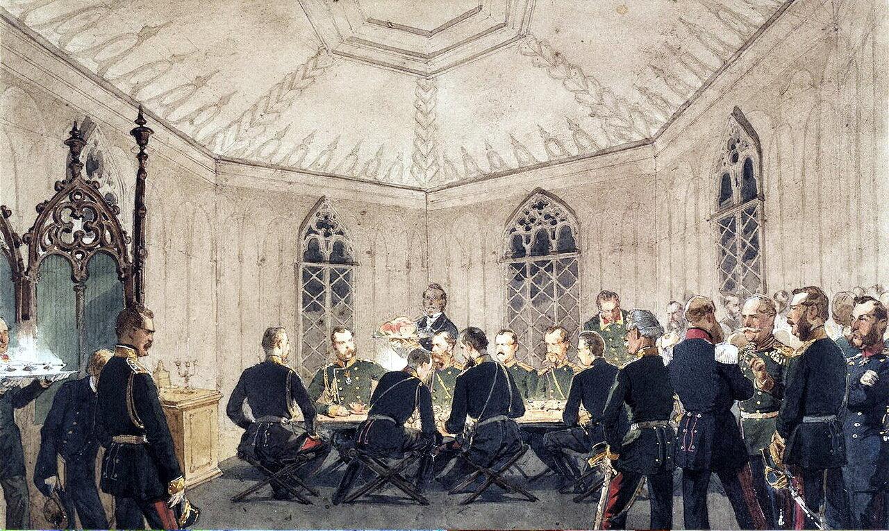 Александр II с группой военных за столом в готическом интерьере