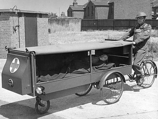Bike ambulance, 1940s.