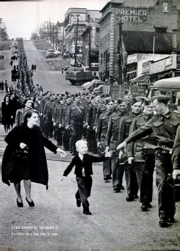 Canadian boy saying goodbye to his father as he heads off to war, 1940
