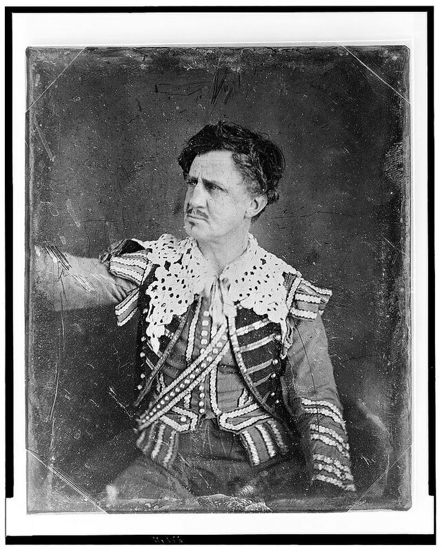 Portrait of Junius Brutus Booth in costume, a famous English stage actor and father of John Wilkes Booth, c. 1850. In 1835, he threatened to kill President Andrew Jackson.