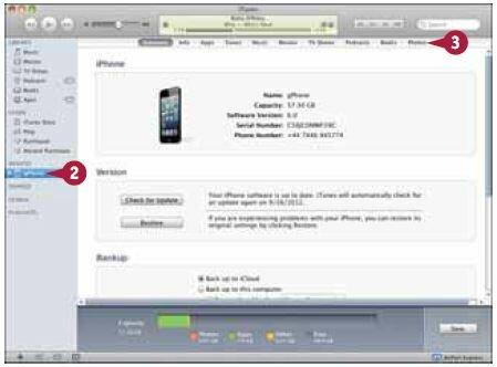 Выберите свой iPhone в списке устройств