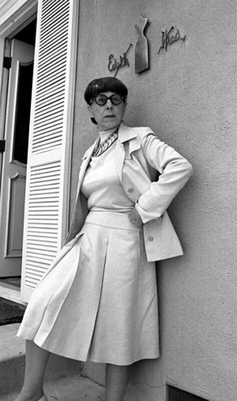 Edith Head outside her Universal Studios office in Universal City, CA June 23, 1975; Various Locations; Mark Sullivan 70's Rock Archive; Universal City; CA.   (Photo by Mark Sullivan/Contour by Getty Images)
