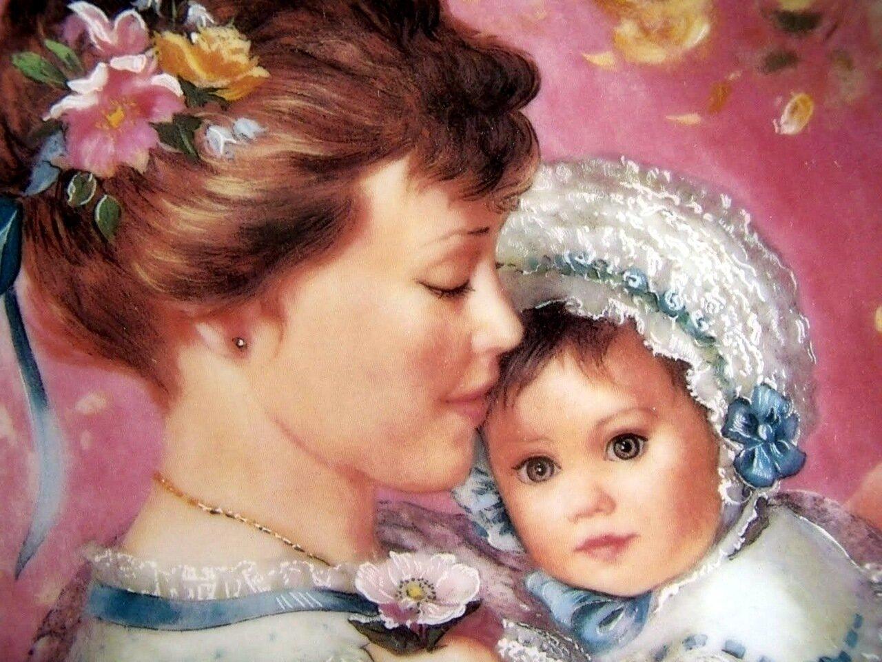 Красивая открытка мама и дочка