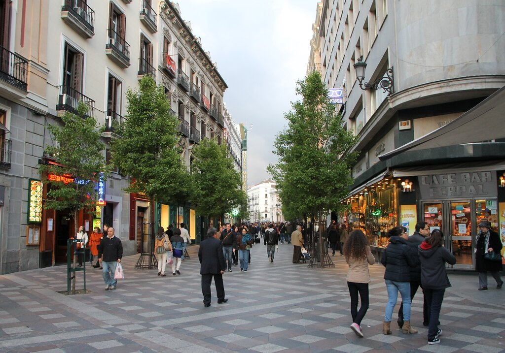 Evening In Madrid. Arenal street (Calle del Arenal)