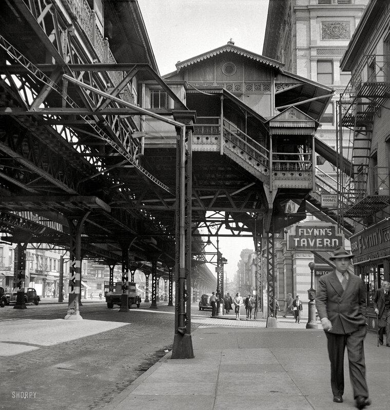 September 1942. 'New York. Third Avenue elevated railway at 18th Street'