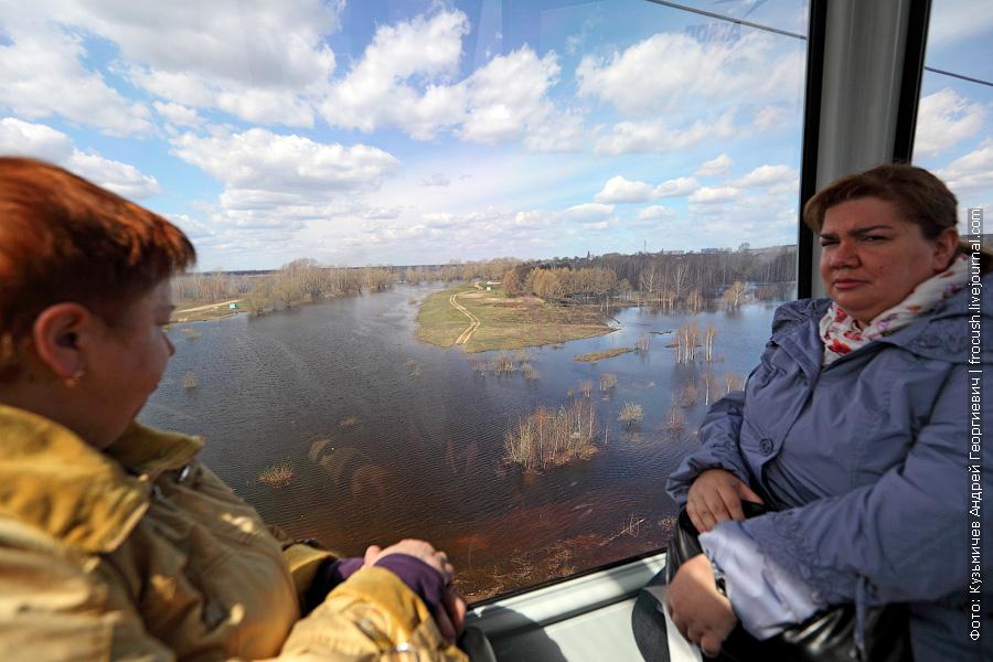 женщины в кабинке канатной дороги Нижнего Новгорода
