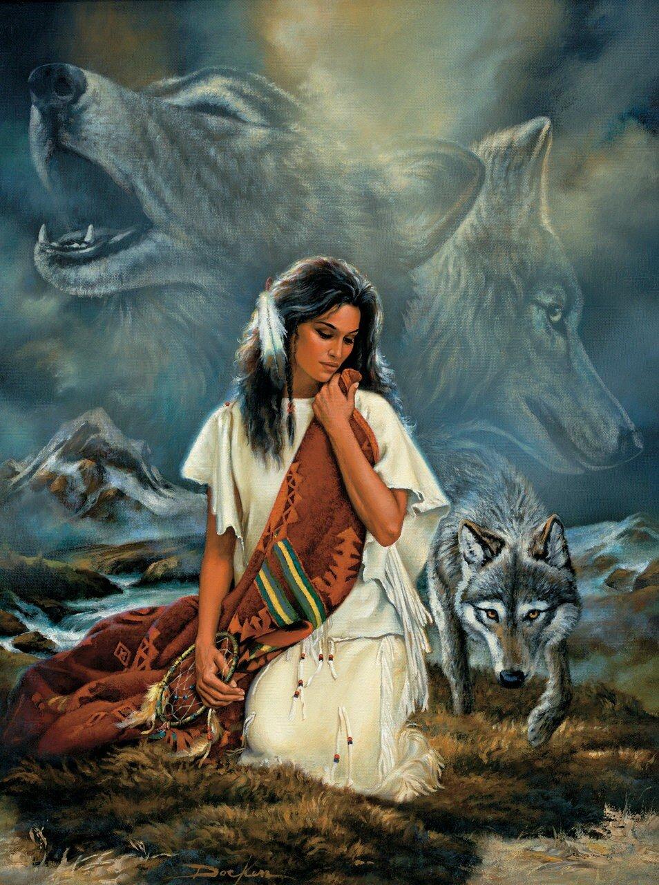 h схему для вышивки индеец с волк