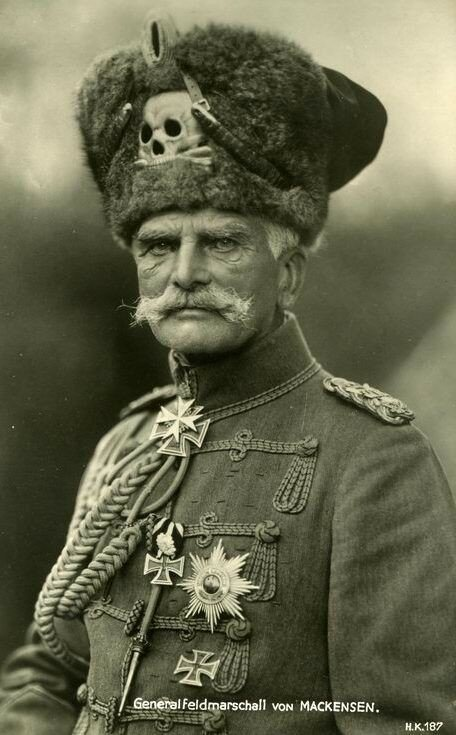 Generalfeldmarschall August von Mackensen, officer in the German Army, wearing the Totenkopf (skull and cross bones) which was part of German military gear since the 18th century.jpg