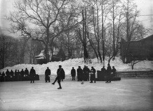 Конькобежец на льду в Юсуповом саду.