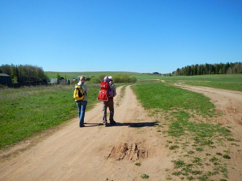Два путника на дороге в поле