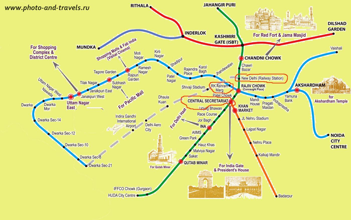 Карта метро в Дели. К слову, в столице его называют именно Metro, а не Underground или Subway. Серая линия – схема движения аэроэкспресса из центра города в аэропорт и обратно.