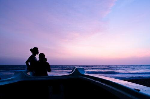 Закат на пляже Негомбо на Шри-Ланке