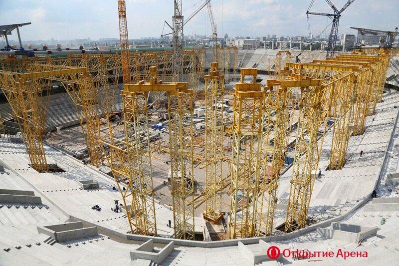 Отделочные работы и монтаж металлической фермы стадиона «Открытие Арена» (Фото)