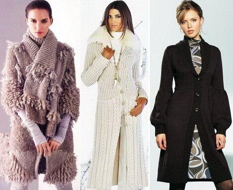 Вязанное пальто с чем носить