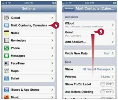 Нажмите «Почта, адреса, календари» (Mail, Contacts, Calendars). Откроется соответствующий экран