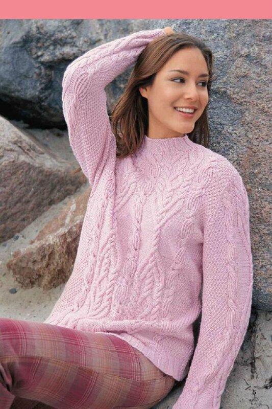 Вязание спицами розовый пуловер 20
