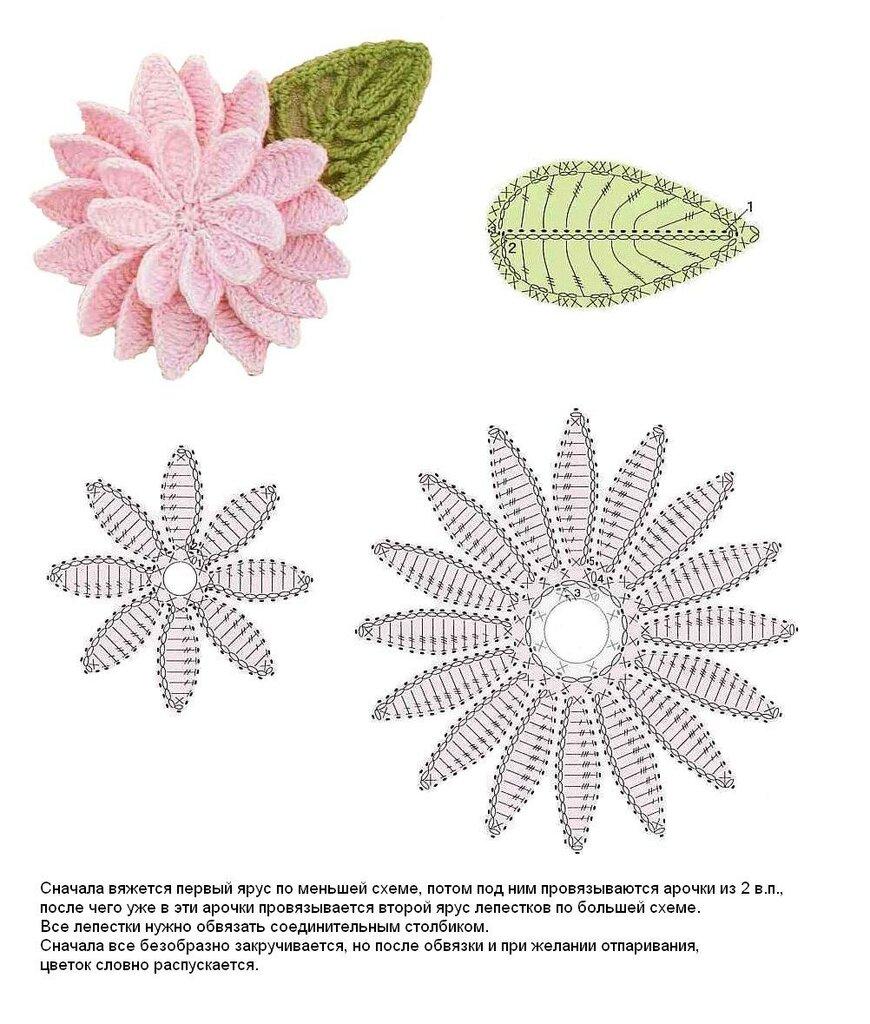 Вязаные цветочки крючком схемы и