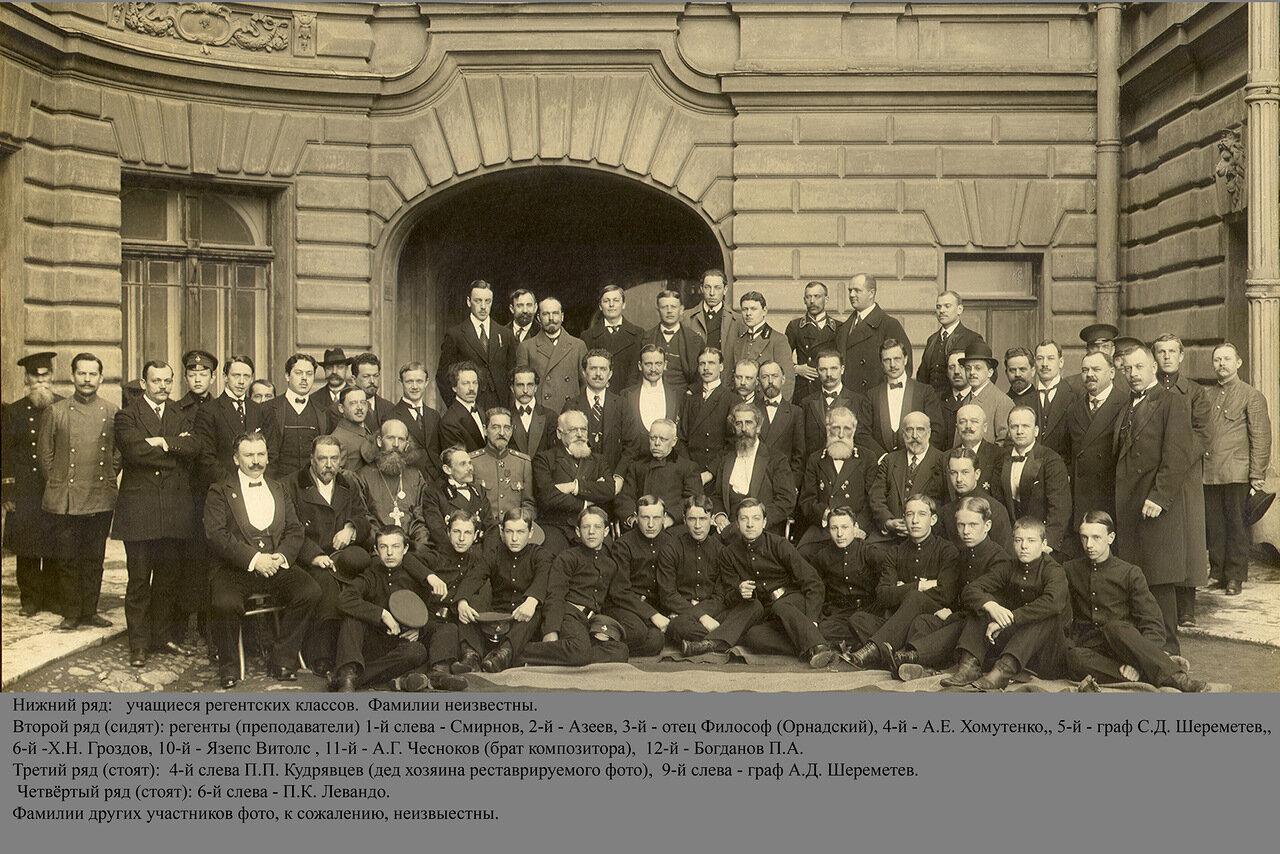 Групповой портрет преподавателей и учащихся регентских курсов придворной певческой капеллы. 1908г.