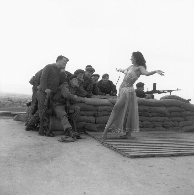 A belly dancer from Middlesex entertains British troops in Cyprus, 1964