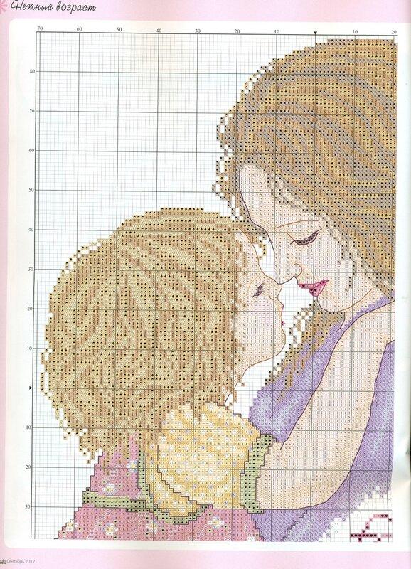 Вышивка мама с дочкой 13