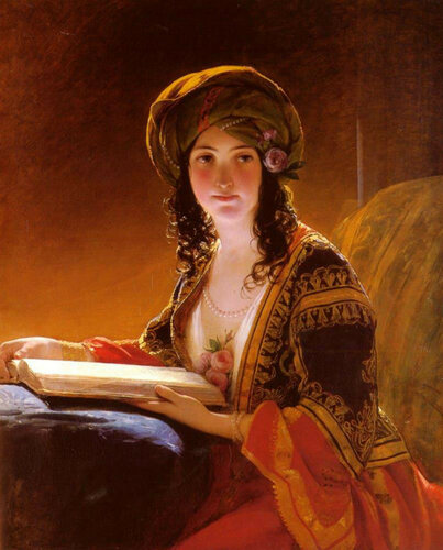Friedrich von Amerling: Girl in Oriental Costume Reading