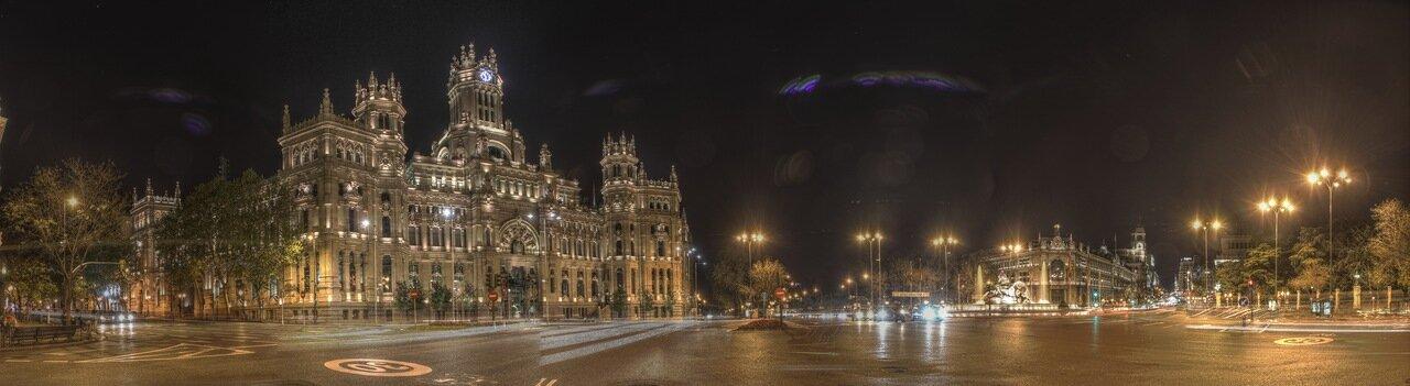 Ночной Мадрид. Площадь Кибелы (Plaza de Cibeles) панорама. hdr
