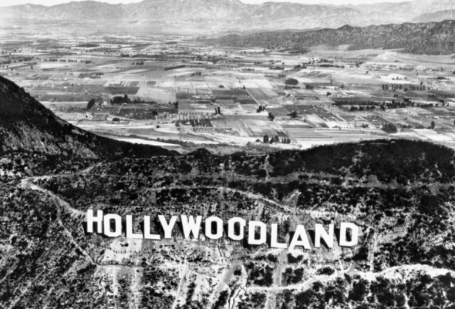 Hollywood Land sign pre-1950 w Burbank in the distance