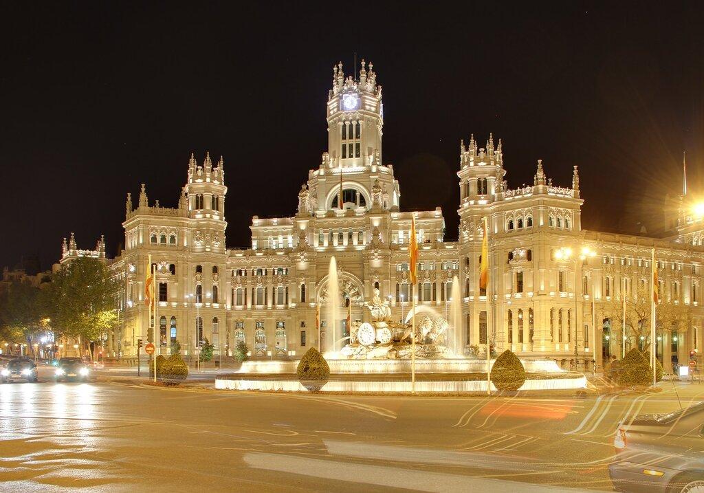 Ночной Мадрид. Дворец связи (Palacio de Comunicaciones).