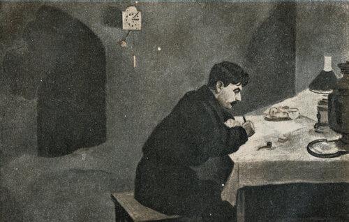 И. В. Сталин за составлением 'Наказа петербургских рабочих своему депутату' — 1912 г. С карт. П. Бучкина