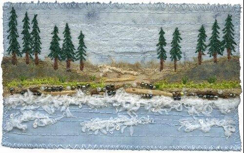 Вышитые пейзажи Кирстен Chursinoff